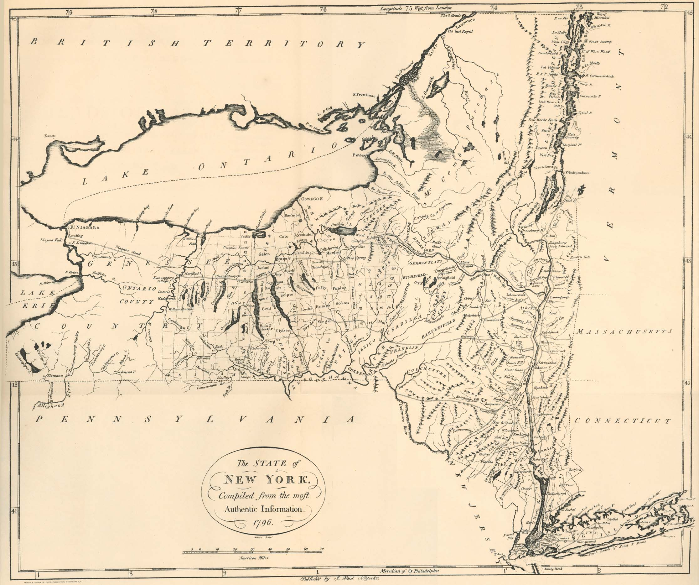 New york livingston county leicester - 1796 New York State Map
